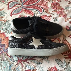 Time & Tru, Black, Glitter, Star, Lace Up Sneakers